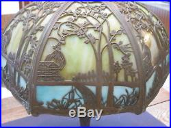 Vintage 20 D, 10H 12 panel slag glass lamp shade only w detailed scrolling