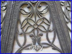 Vintage 23H cast metal, ornate 8 panel carmel slag glass single socket lamp