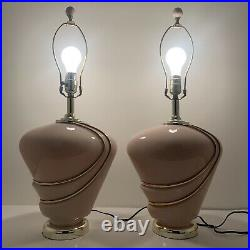 Vintage 80s Pink Gold Lamp Pair 27 1980s Glass