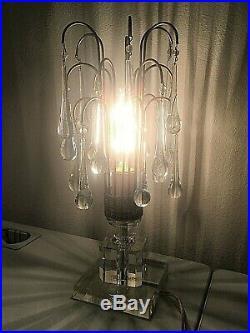 Vintage Antique ART DECO Hollywood Regency Glass Teardrop Waterfall TABLE LAMP