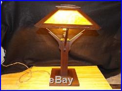 Vintage Antique Mission Oak Slag Glass Arts & Crafts Table Lamp Limbert Stickley