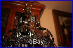Vintage Arabic Islamic Medieval Gothic Table Lamp-Slag Glass-LARGE-Candelabra-#1
