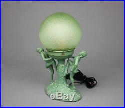 Vintage Art Deco Figural Lamp with Glass Brain Shade, Flappers, 1920s-30s, VGC
