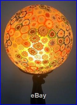 Vintage Art Deco Millefiori Glass Lamp with Burlesque Dancer cast metal base
