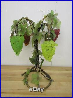 Vintage Art Nouveau Murano Czech Glass Grape Cluster Table Lamp Fruit Figural