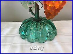 Vintage Art Nouveau Murano Glass Grape Cluster Fruit Figural Lamp