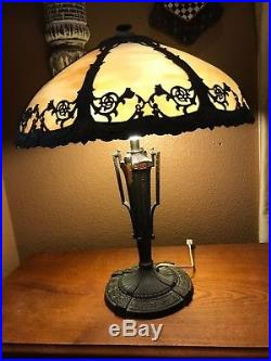 Vintage Art Nouveau Slag Glass 8 Panel Table Lamp