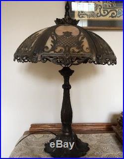 Vintage Art Ornate Bronzed Metal 6 Panel Slag Caramel Glass Shade Table Lamp