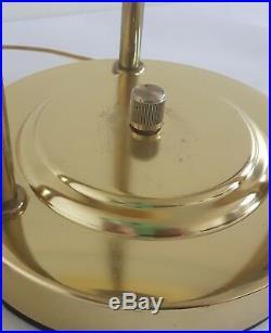 Vintage Bauhaus Desk Lamp Modernist Style Brass Glass Dimmable UFO Mushroom MCM