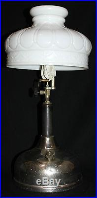 Vintage Coleman Quick-Lite Gas Lantern Camping Table Lamp Milk Glass Shade (H0)