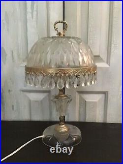 Vintage Crystal Glass Prism Boudoir Parlor Table Lamp