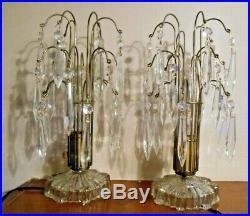 Vintage Crystal Prism Glass Waterfall Hollywood Regency Lamps