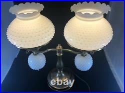 Vintage Double Student 19 Lamp White Milk Glass Hobnail Shades Brass Tone