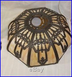 Vintage Eight Panel Bent Slag Glass Table Lamp