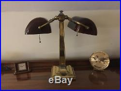 Vintage Emeralite DOUBLE Antique Partners Desk Lamp with Amber Glass Shades