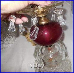 Vintage Etched Glass Boudoir Cranberry Electric Table Lamps Hurricane Chimney