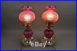 Vintage Fenton Cranberry Opalescent Hobnail Table Lamps Carnival Glass Parlor