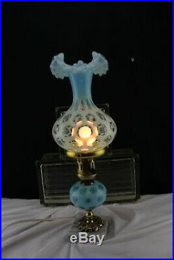 Vintage Fenton Glass Small Table Lamp Coin Spot Blue-Dressing Table-Bedside
