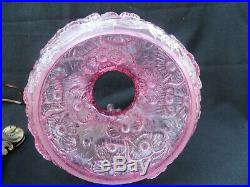 Vintage Fenton Pink Glass Poppy Student Hurricane Table Lamp