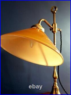 Vintage French Art Deco Style Brass Desk/ Table Lamp. Cognac/ White Glass shade