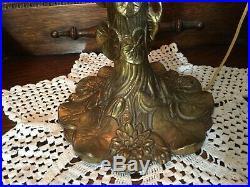 Vintage GIM Metal Table Lamp withSlag Glass Shade, 28 Tall x 17 Diameter