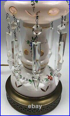 Vintage GLASS HANDPAINTED & CUT Polished Floral Table LAMP WithCrystal Prisms