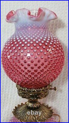 Vintage GWTW Fenton Cranberry Opalescent Hobnail Table Lamp 23 Tall
