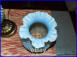 Vintage HTF Fenton Art Glass Blue Opalescent Hobnail GWTW Table Lamp