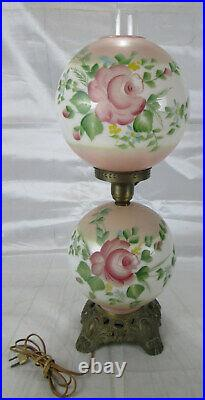 Vintage Hand Painted Table Globe Lamp double lights top and/or bottom globe