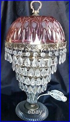 Vintage Hollywood Regency Michelotti Pink Cranberry Glass Lamp 4 Tiers Of Prisms