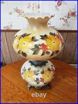 Vintage Hurricane Lamp Hand Painted Floral Yellow Flowers 23 Tall Beauty 1960's