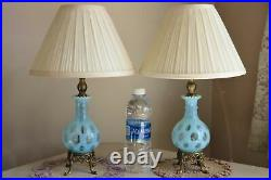 Vintage Lamps Fenton Blue Coin Dot Pair Opalescent Glass Electric Working Table
