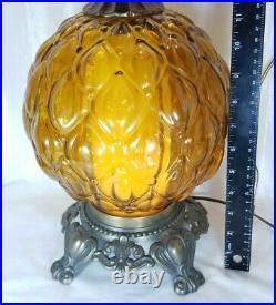 Vintage MCM 1960s Acorn Scalloped Embossed Glass Genie Globe 4-way Table Lamp