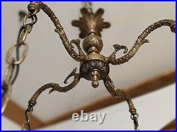 Vintage MCM Hollywood Regency Brass Hanging Amber Glass Swag Lamp Light