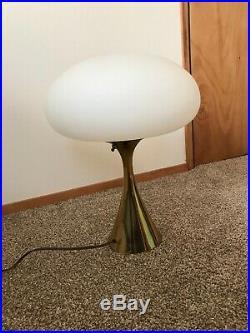 Vintage MID Century Modern Laurel Mushroom Table Lamp Glass Gold Metal Base