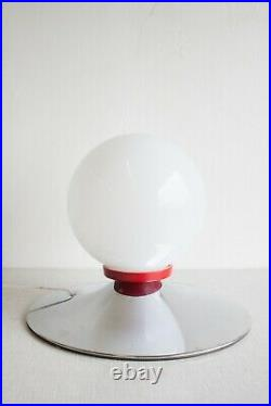 Vintage Meblo Table Floor Lamp / 70s White Glass Sphere Chrome Lamp / Space Age