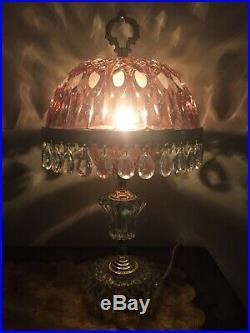 Vintage Michelotti Crystal Glass Prism Boudoir Parlor Table Lamp Pink