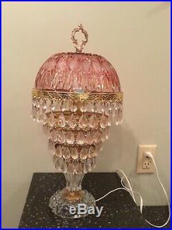 Vintage Michelotti Lead Crystal Glass Prism Boudior Parlor Lamp Pink Cranberry