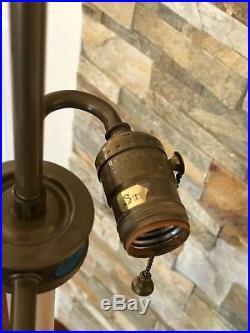 Vintage Mid Century Brass Stiffel Floor Lamp With Glass Table