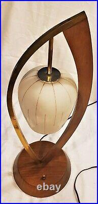 Vintage Mid Century Danish Modern Teak Brass Glass Desk Table Sculptural Lamp