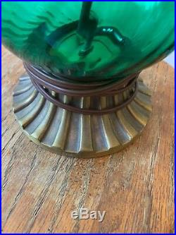 Vintage Mid Century Emerald Green Glass Brass Metal Table Lamps Pair