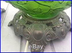 Vintage Mid Century Green Glass Table Lamp Lighted Globe Base Grapevine Design