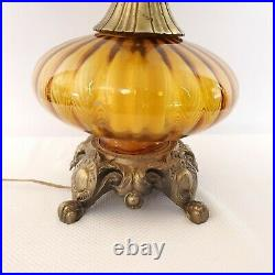Vintage Mid Century Lamp Amber Glass Hand Blown EF and EF Industries Hollywood
