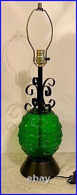 Vintage Mid Century Modern Green Glass Black Metal Ornate Table Lamp 1960s MCM