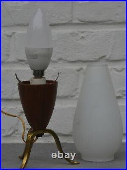 Vintage Mid Century Modern Scandinavian Teak & Opaline Glass Tripod Table Lamp
