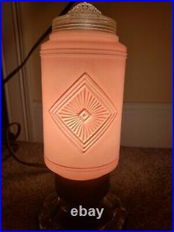 Vintage Mid Century Pink & Clear Glass Atomic Rocket Phallic Boudoir Table Lamp