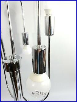 Vintage Mid Century Space Age Retro 1970s 6 Light Glass Orb Chrome Table Lamp