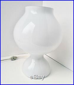 Vintage Mid-century Modern White Glass Table Lamp Danish Design