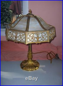 Vintage Miller Table Lamp Art Nouveau 3-Light Caramel Slag Glass Octagonal 1042