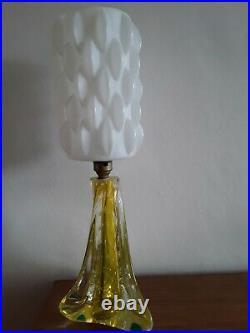 Vintage Murano Mid Century Glass Table Lamp Retro Plastic Shade 50s 60s